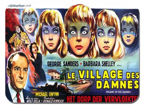 Village of the Damned Vintage Movie Poster Mouse Mat. Horror Film Mouse pad Gift